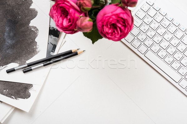 Styled tabletop mockup, computer keyboard and pink flowers on wh Stock photo © manera