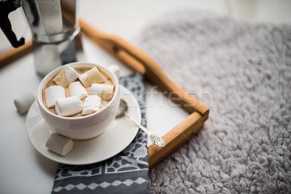 Ciepły domu taca kubek kawy Zdjęcia stock © manera