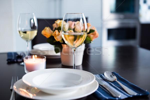 Сток-фото: простой · домой · таблице · очки · приборы · роз