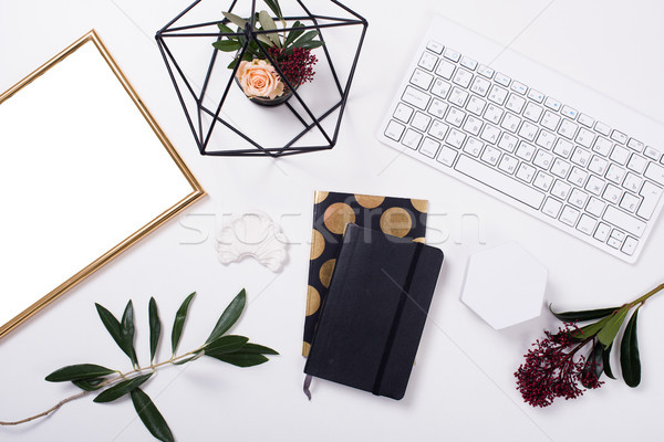 White feminine tabletop flatlay Stock photo © manera