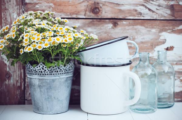 Lakberendezés virágok konzervdoboz konzerv üveg üvegek Stock fotó © manera