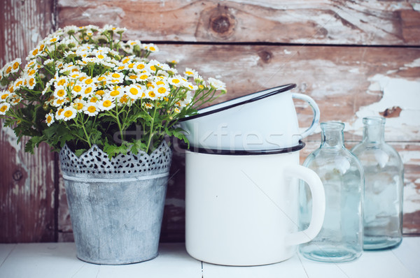 Flores estanho lata vidro garrafas Foto stock © manera