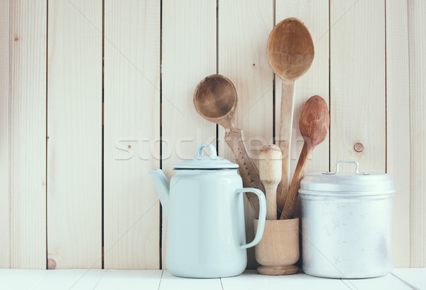Stock photo: coffee pot, enamel mugs and rustic spoons