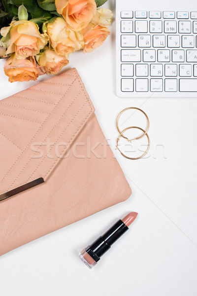 Feminine office desk workspace mockup with flowers Stock photo © manera