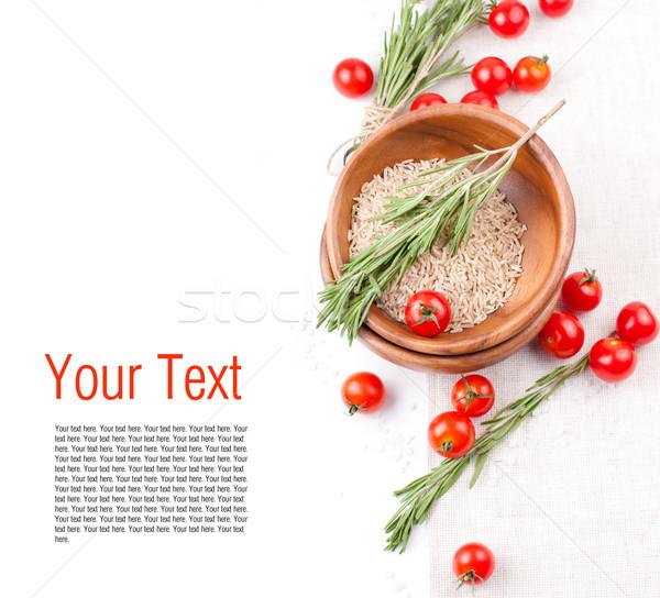 テンプレート 精進料理 新鮮な トマト コメ ローズマリー ストックフォト © manera