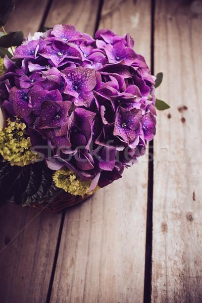Сток-фото: большой · букет · свежие · цветы · Purple · белый
