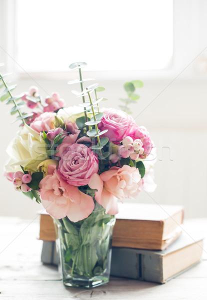 Virágok ősi könyvek elegáns virágcsokor rózsaszín Stock fotó © manera