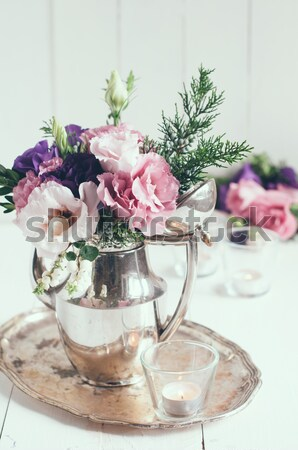 vintage wedding table decorations with roses, candles, cutlery a Stock photo © manera