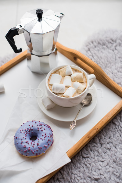 Cozy home weekend, coffee and sweets Stock photo © manera