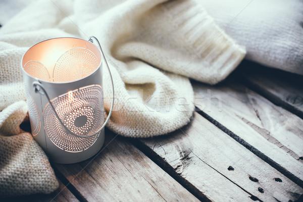 Gezellig zachte winter gebreid trui kaarsen Stockfoto © manera