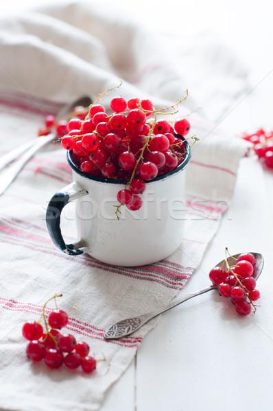 Rood witte glazuur mok vers natuurlijke Stockfoto © manera