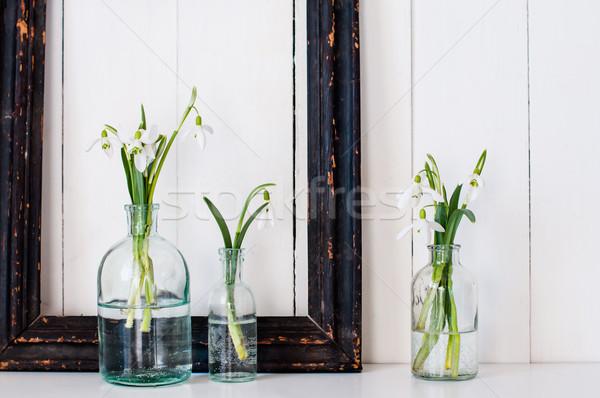 Bianco fiori di primavera vintage vetro bottiglie frame Foto d'archivio © manera
