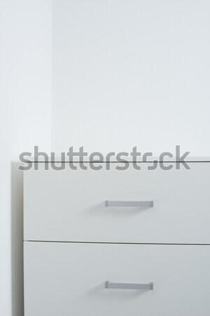 Blanche mur poitrine tiroirs vide modernes Photo stock © manera