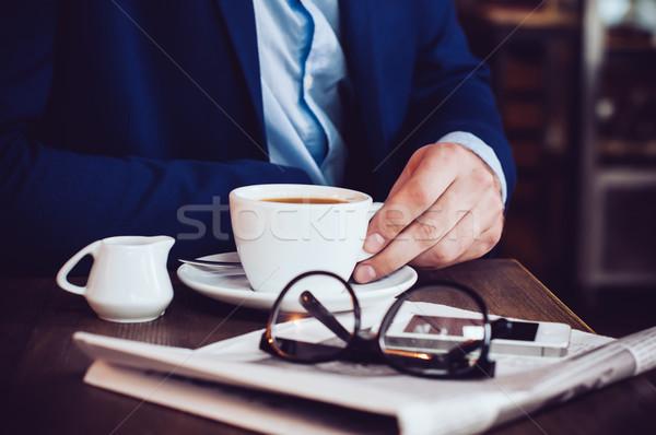 ストックフォト: ビジネスマン · クローズアップ · 青 · ジャケット · カップ · コーヒー
