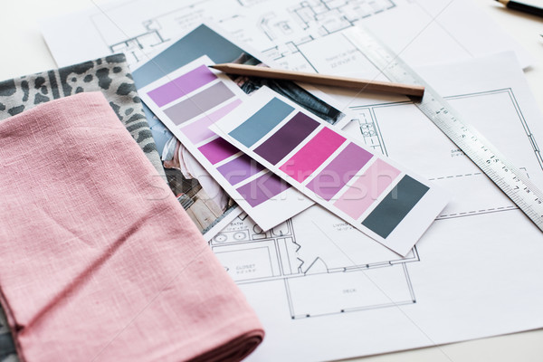 Сток-фото: интерьер · рабочих · таблице · архитектурный · плана · дома