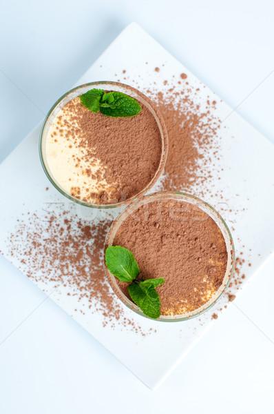 Kettő krémes vanília desszertek menta levél Stock fotó © manera