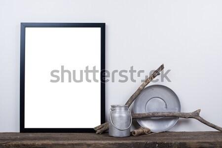 Stílus üres fényképkeret felfelé minimális lakberendezés Stock fotó © manera