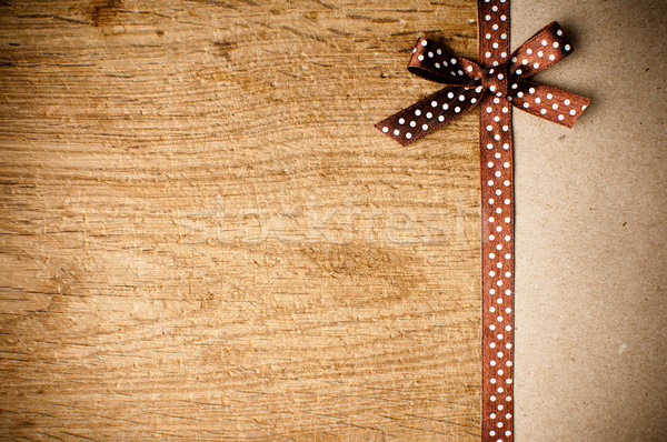 background with brown ribbon and kraft paper Stock photo © manera