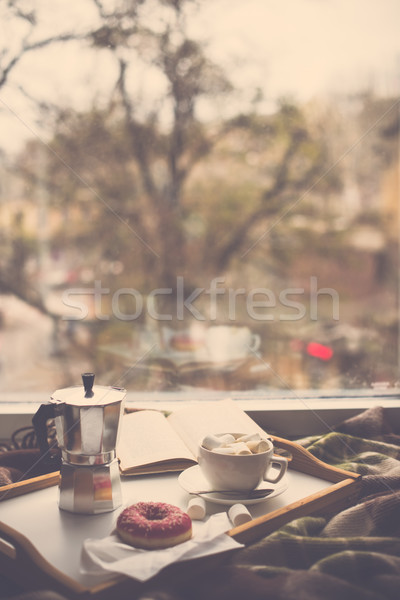 Stock fotó: Kényelmes · otthon · tél · kávé · pléd · hipszter