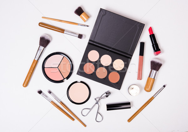 Stock photo: Professional makeup tools, flatlay on white background
