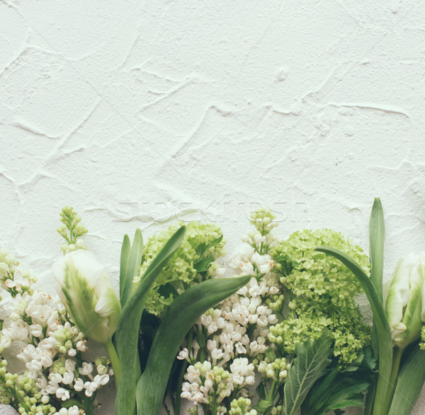 White textured background with fresh spring flowers Stock photo © manera