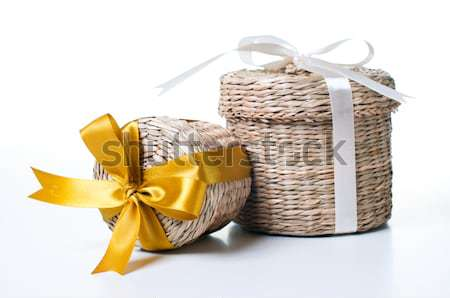 Osier boîte jaune ruban blanche mariage Photo stock © manera