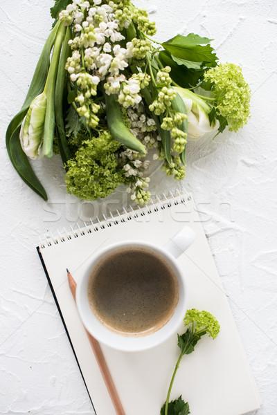 Feminine flatlay with spring flowers Stock photo © manera