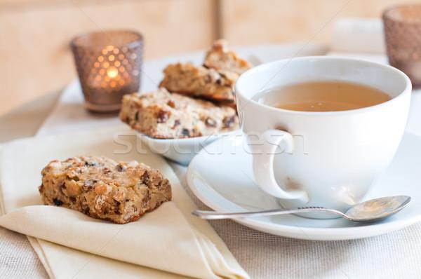 Caseiro biscoitos copo chá tabela manhã Foto stock © manera