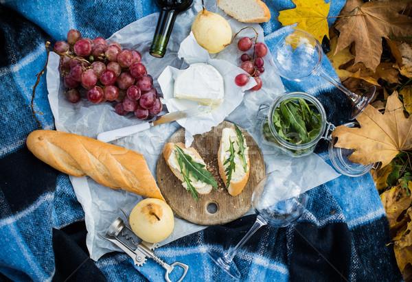 Confortável outono piquenique parque fresco pão Foto stock © manera