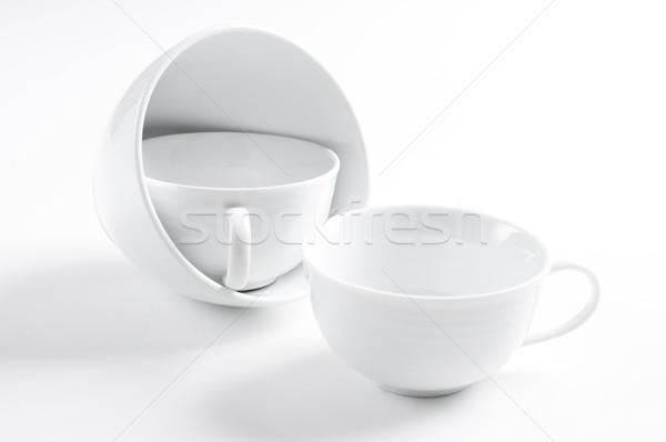 Három különböző fehér csészék konyha űr Stock fotó © manera