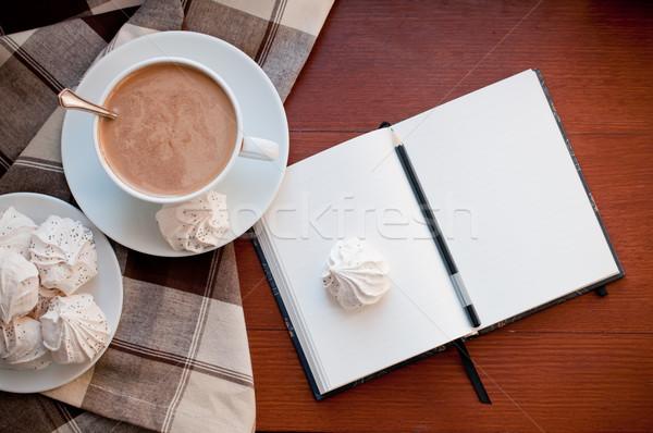 Stock fotó: Kávé · jegyzettömb · csésze · asztal · otthon · notebook