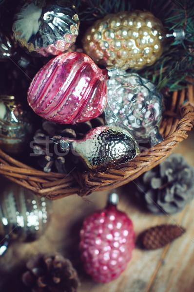 Díszítések fonott kosár klasszikus karácsony ajándék Stock fotó © manera