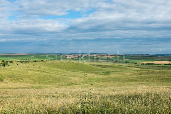 Vară peisaj spatios câmp cer nori Imagine de stoc © manera