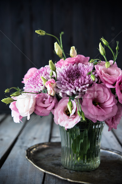 Bouquet of pink flowers in vase vintage decor Stock photo © manera