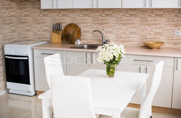 interior of new bright white home kitchen Stock photo © manera