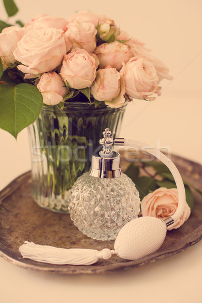 Elegante estilo retro vintage perfume botella ramo Foto stock © manera