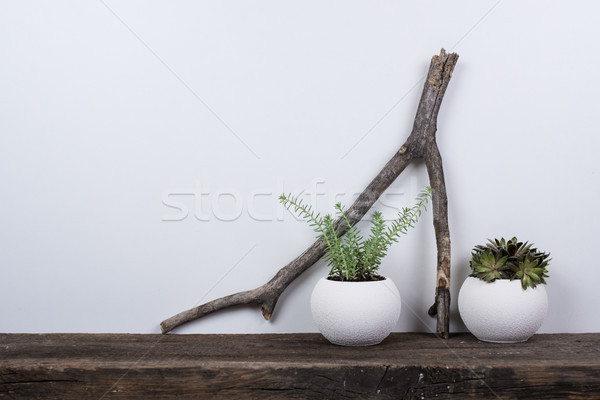 Scandinavian style home decor with rustic wooden board Stock photo © manera