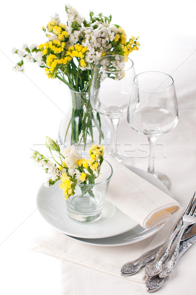 Stock photo: Festive table setting in yellow