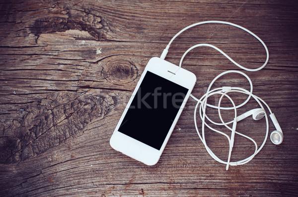 Auriculares blanco edad teléfono Foto stock © manera