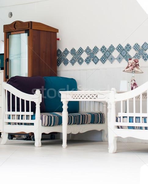Teras beyaz mobilya yaz ev bej Stok fotoğraf © manera