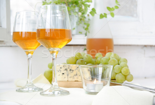2 眼鏡 ワイン ブドウ ブルーチーズ 光 ストックフォト © manera