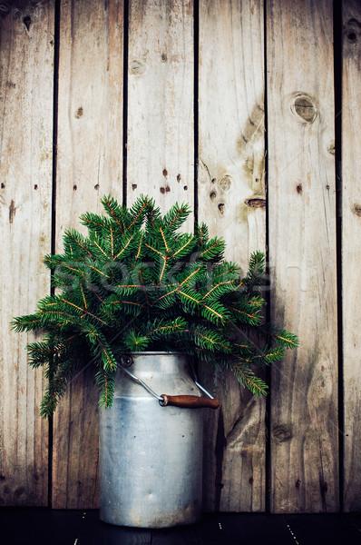 Fichte Niederlassungen Winter Anordnung Jahrgang kann Stock foto © manera