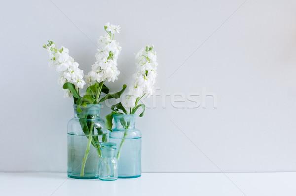 Klasszikus lakberendezés fehér virágok különböző kék Stock fotó © manera