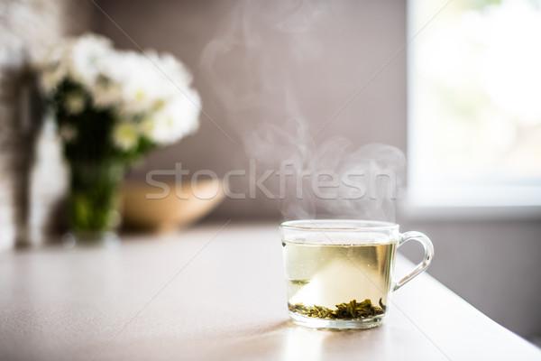 Csésze friss zöld tea gőz reggel asztal Stock fotó © manera