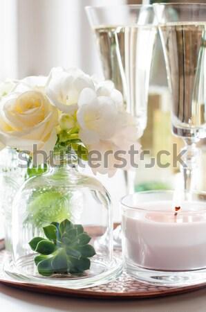 лет свадьба таблице украшение белые цветы свечей Сток-фото © manera