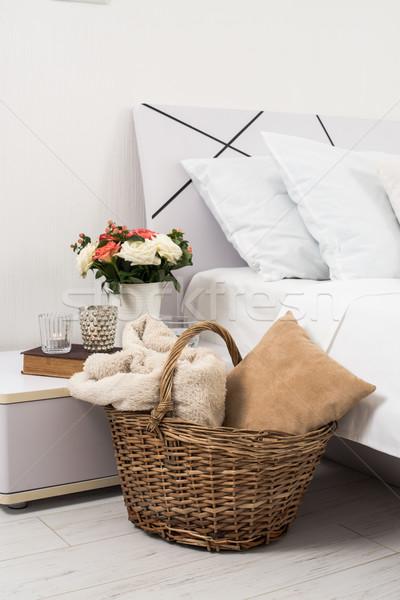 Confortável casa branco quarto interior novo Foto stock © manera