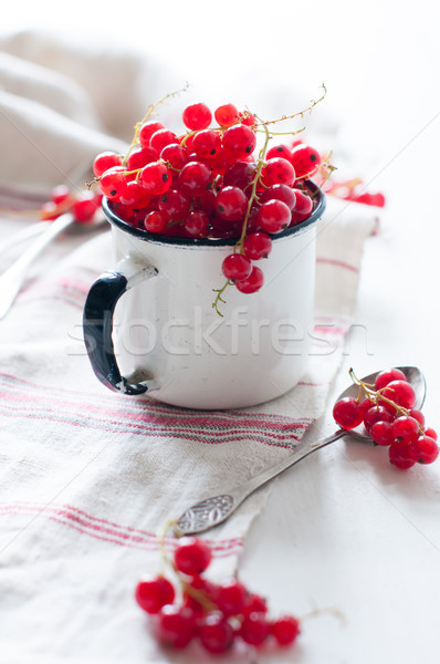 red currants in a white enamel mug Stock photo © manera