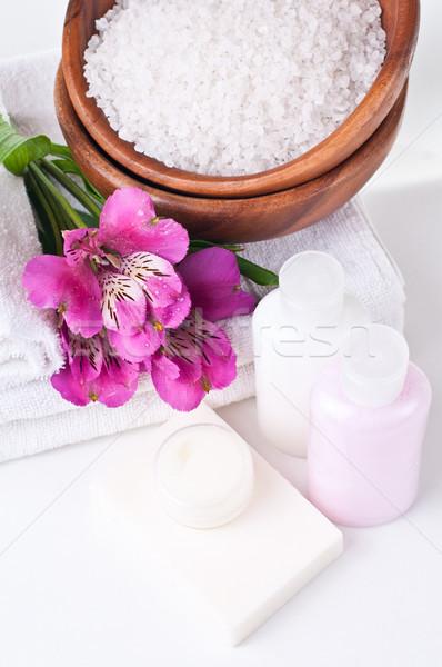 Stok fotoğraf: Kaynaklar · spa · çiçekler · beyaz · havlu · aromatik