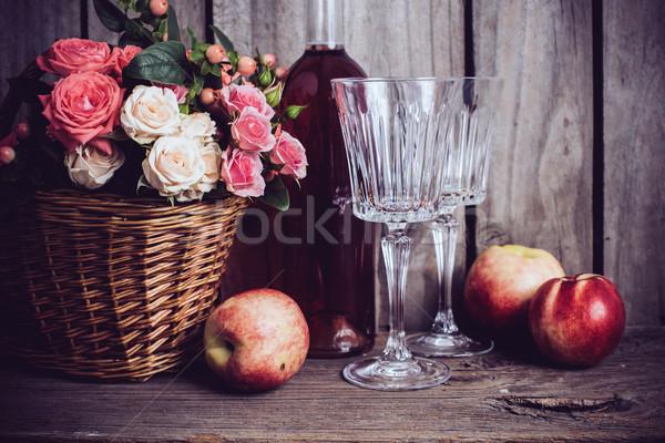 деревенский натюрморт свежие природного розовый роз Сток-фото © manera