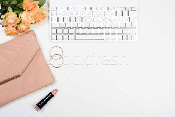 Vrouwelijk werkruimte bloemen handtas Stockfoto © manera